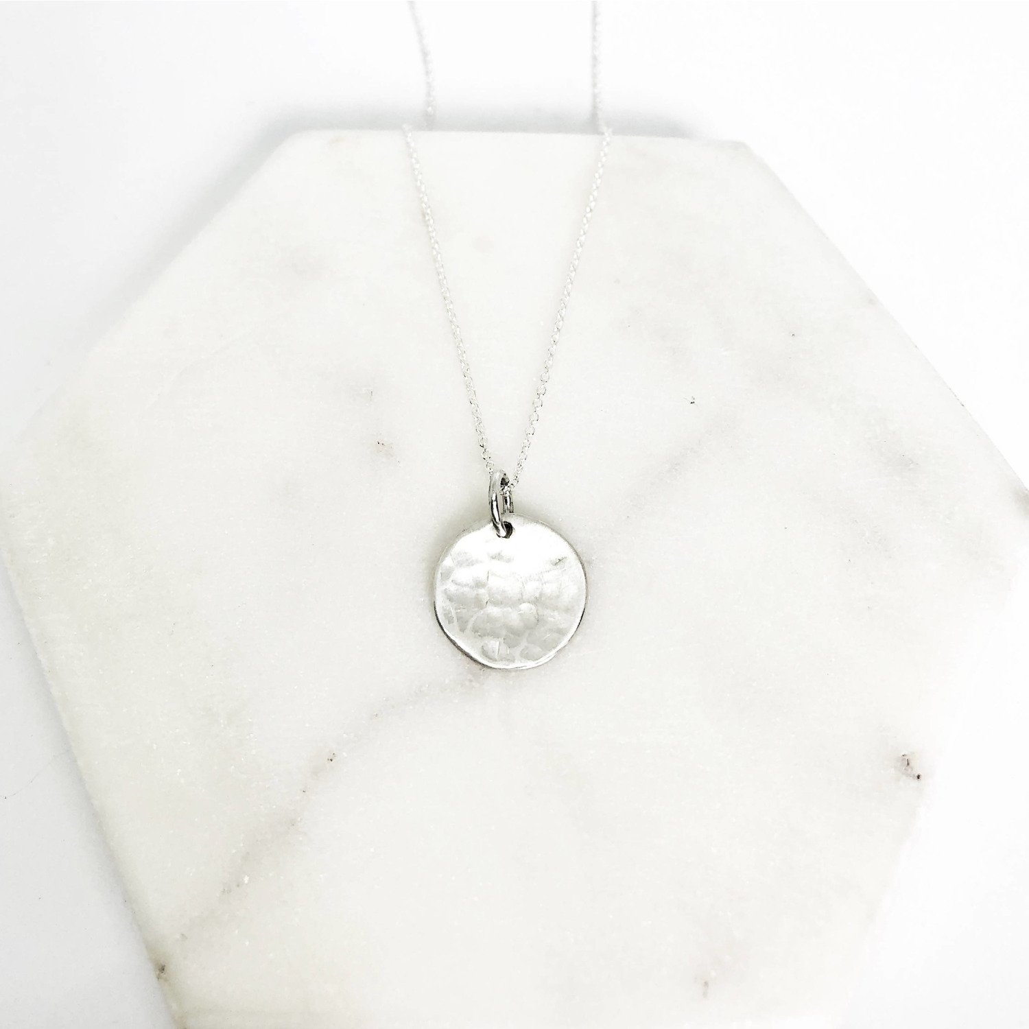 Full moon necklace (Hammered disc)