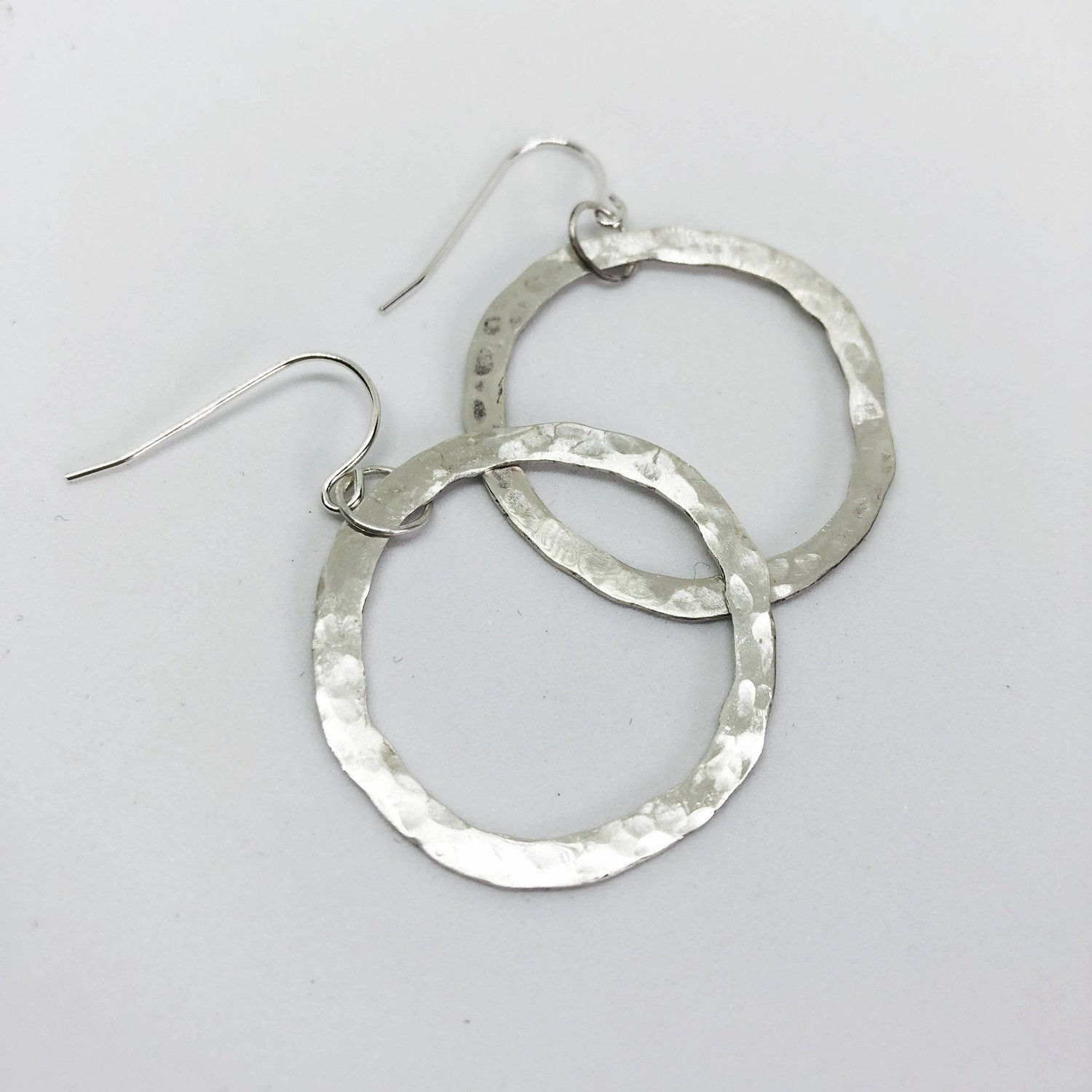 Hammered Open Circle Hoop earrings